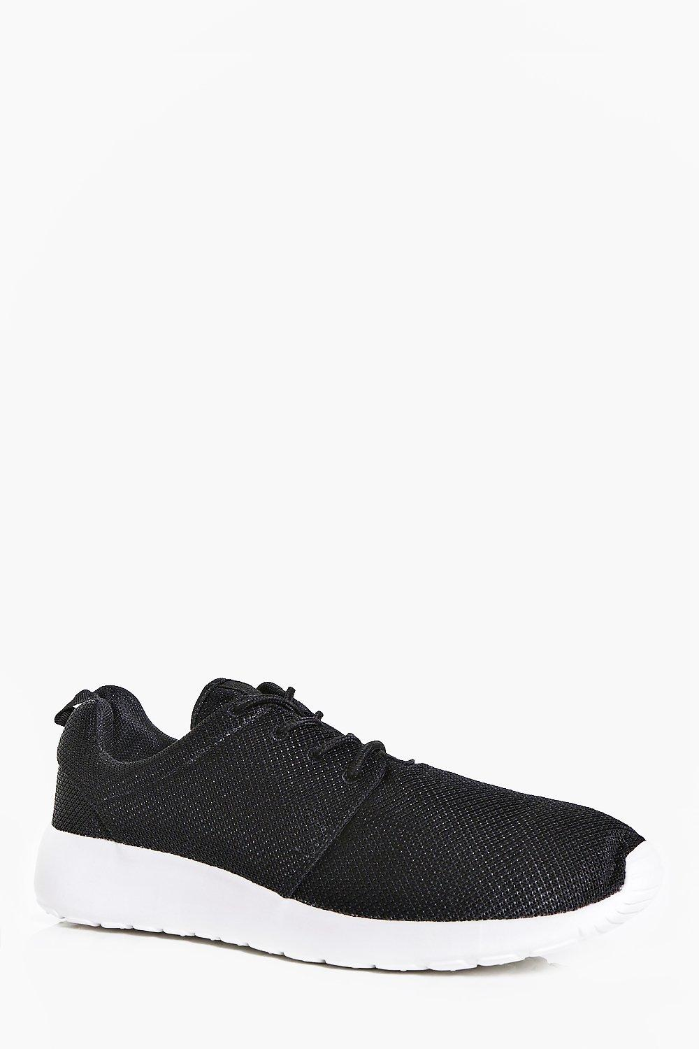 Black Lace Up Running Trainers