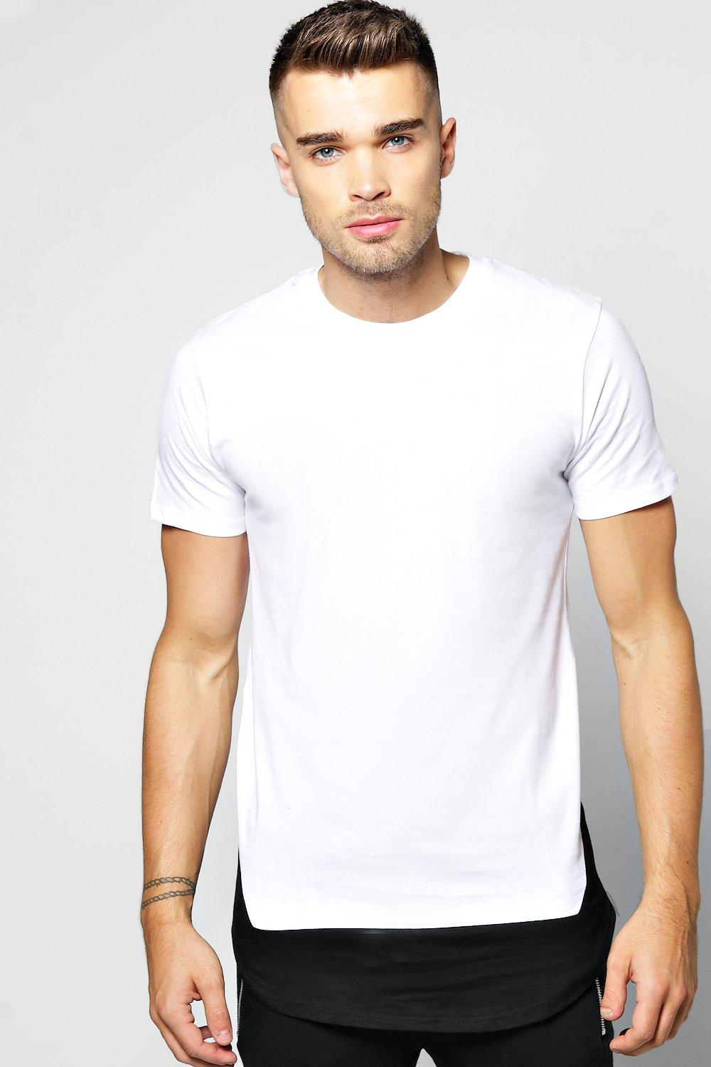 Longline Colour Block T Shirt With Step Hem