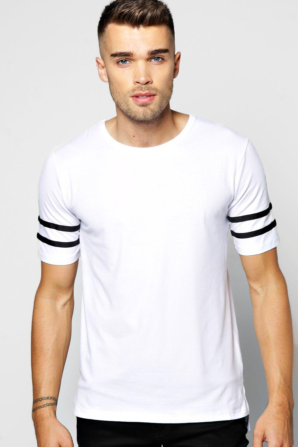 Muscle Fit Stripe Sleeve T Shirt