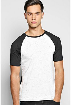 Muscle Fit Raglan T Shirt With Speckle Yarn
