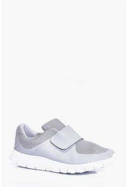 Grey Velcro Running Trainers