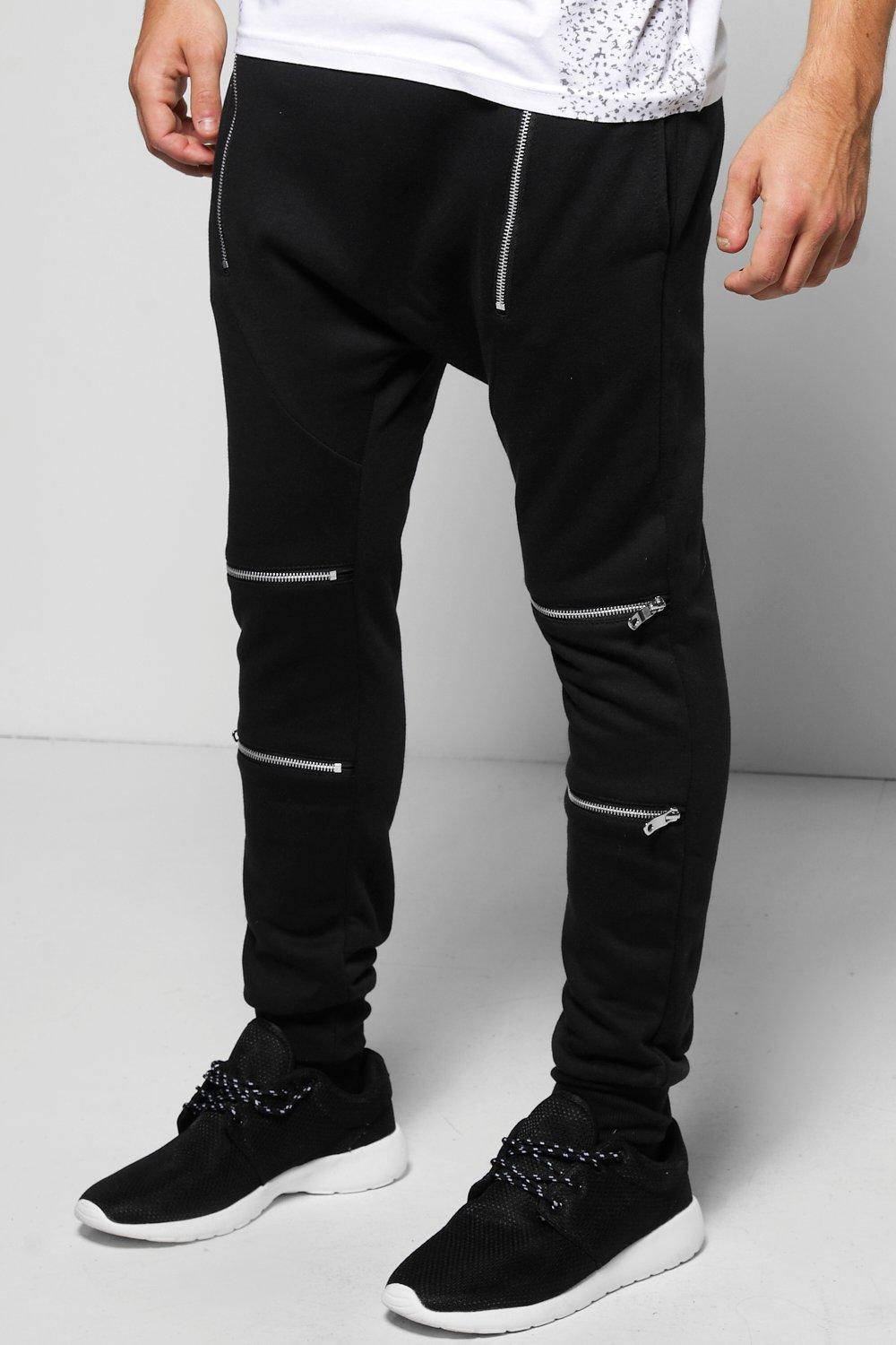 Skinny Fit Drop Crotch Zip Front Joggers