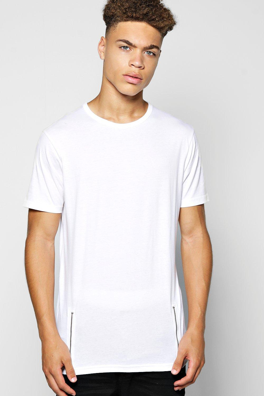 Skater Length T Shirt With Front Zips