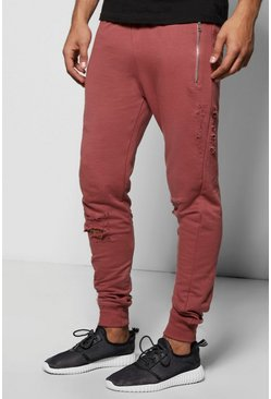 Skinny Fit Distressed Joggers With Zip Pockets