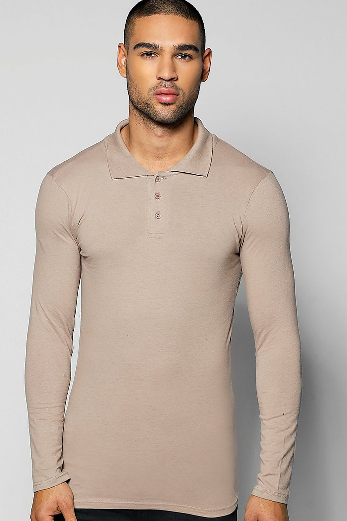 Long Sleeve Muscle Fit Polo In Jersey