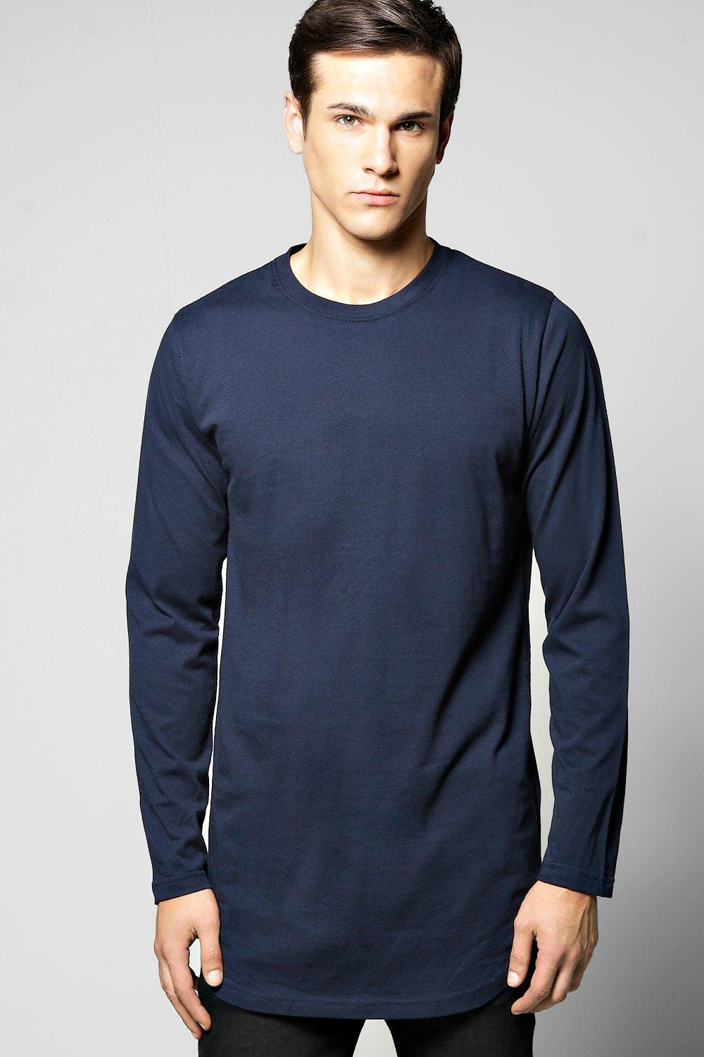 Long Sleeve Longline Scoop Hem T Shirt