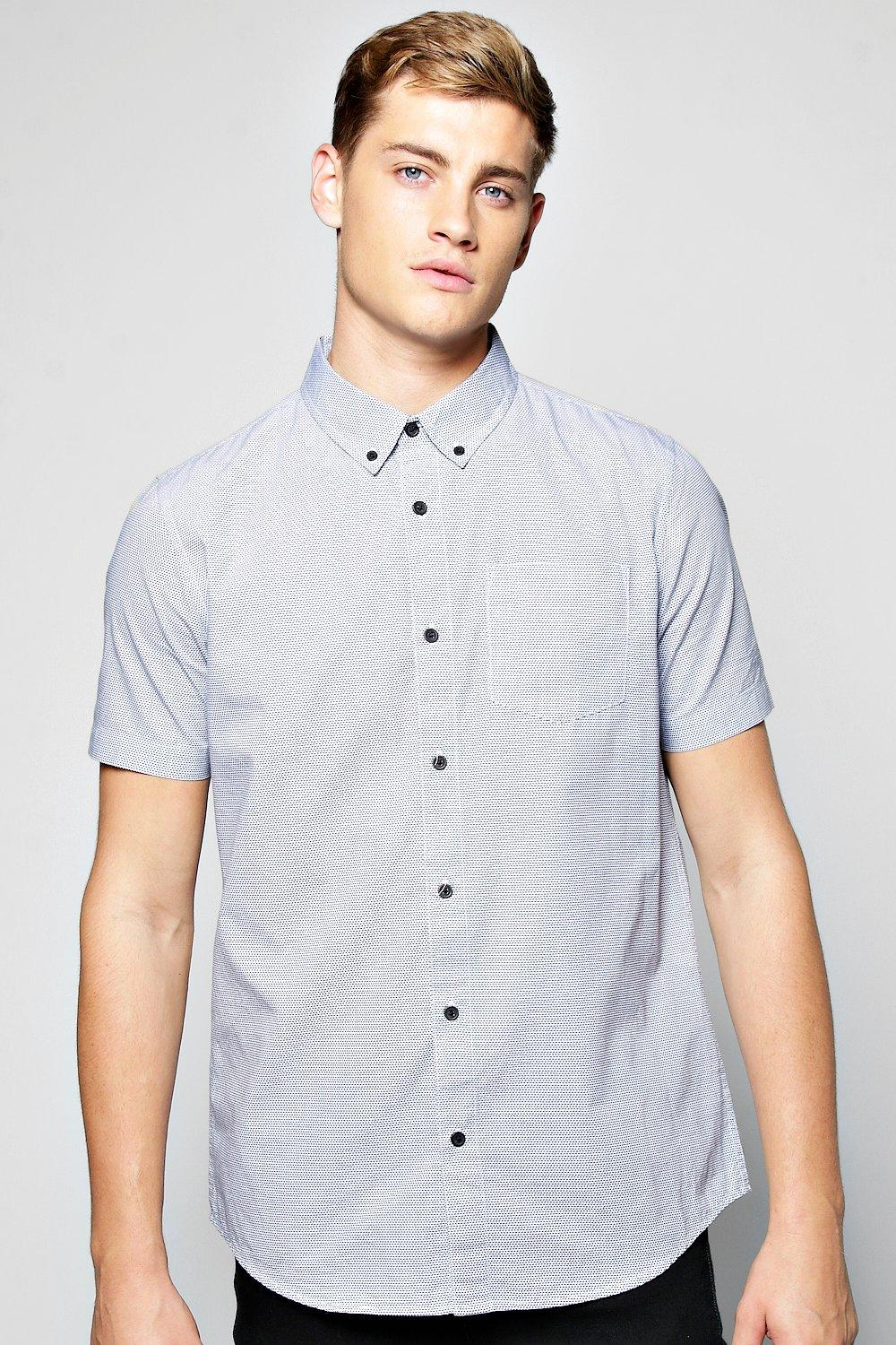 Short Sleeve Zig Zag Print Shirt