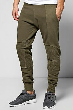 Skinny Fit Biker Panel Washed Joggers