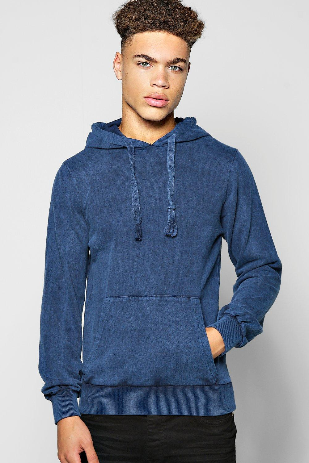 Over The Head Hoodie In Acid Wash