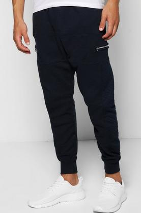 Skinny Fit Waffle Joggers With Panel And Zips