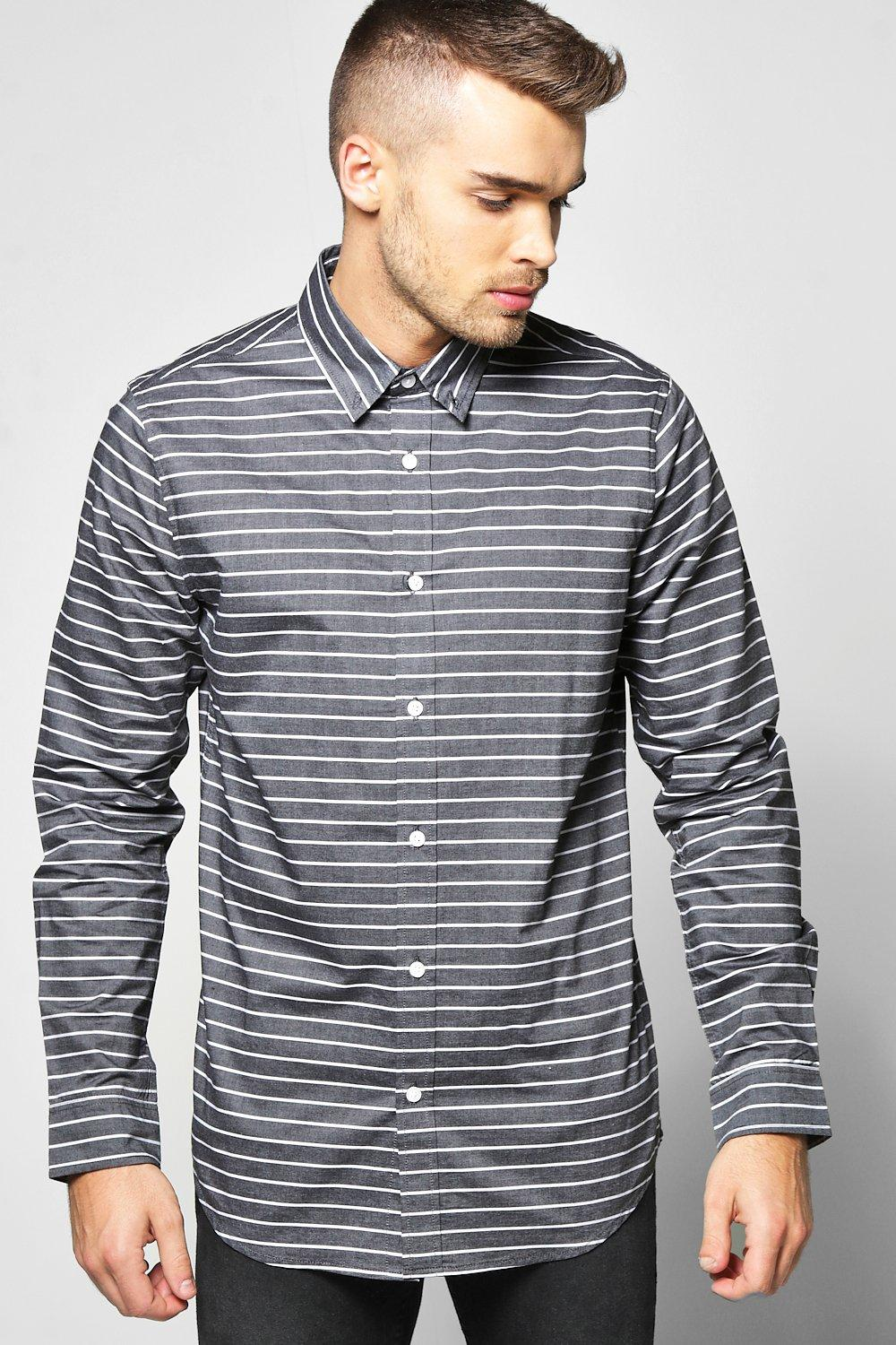 Horizontal Wide Stripe Long Sleeve Shirt