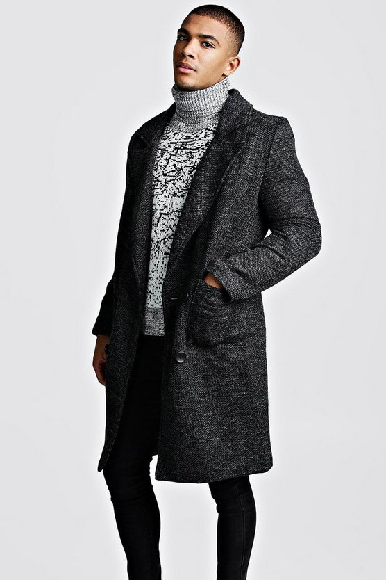 Textured 3/4 Smart Lined Overcoat