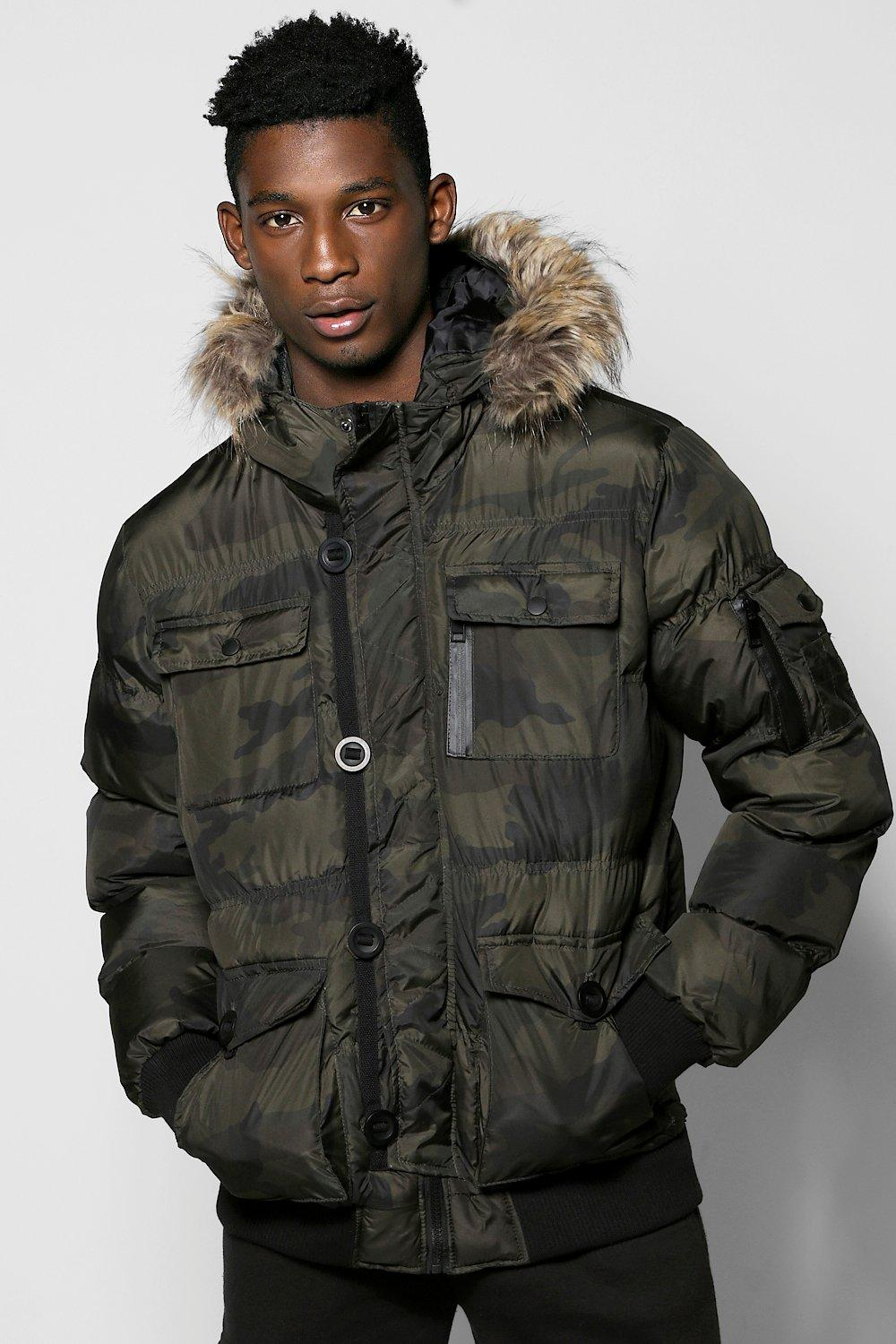 Camo Parka With Fur Trim Hood