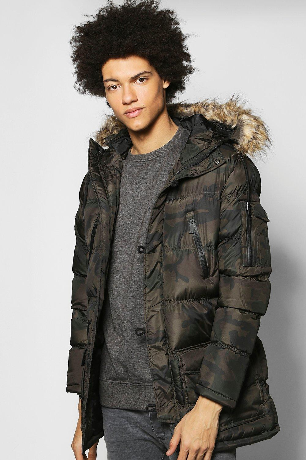 Camo Print Parka With Faux Fur Hood  camo