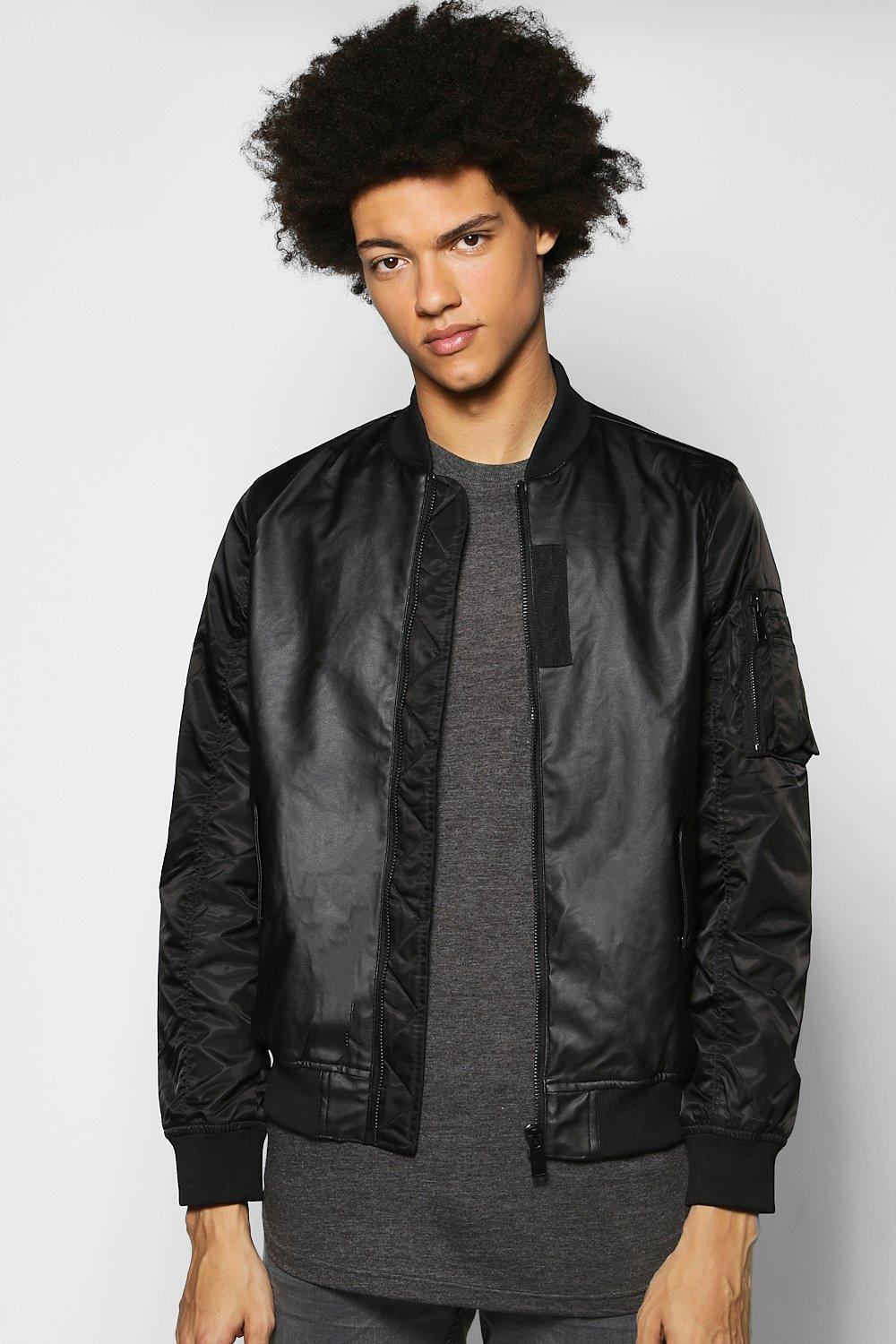 PU Bomber With Nylon Sleeves
