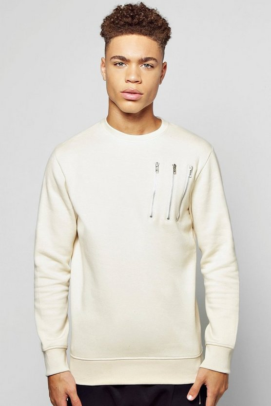 Crew Neck Panel Sweatshirt With Zip Detail