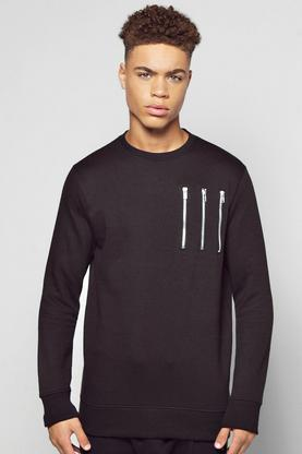 Crew Neck Panel Sweater With Zip Detail
