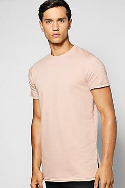 Longline Loop Back T Shirt With Split Hem