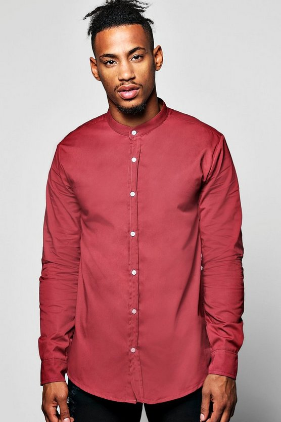 Grandad Collar Shirt With Zip Details