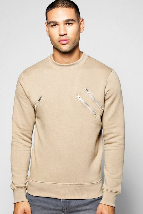 Crew Neck Sweatshirt With Zip Detail