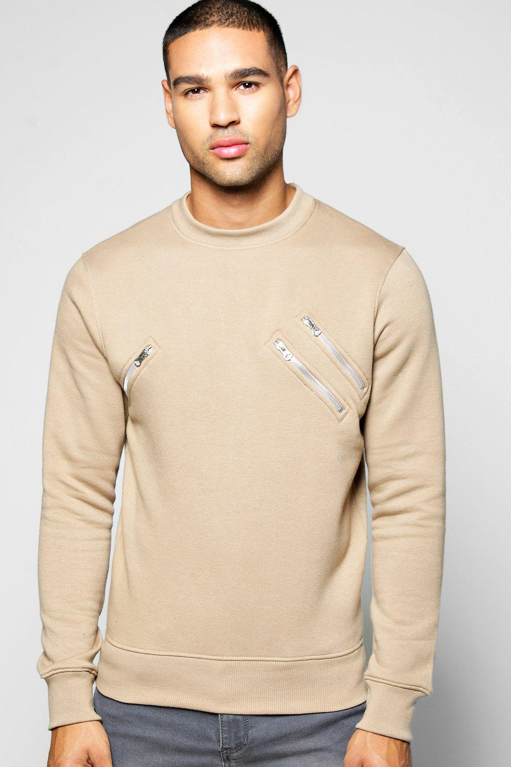 Crew Neck Sweater With Zip Detail