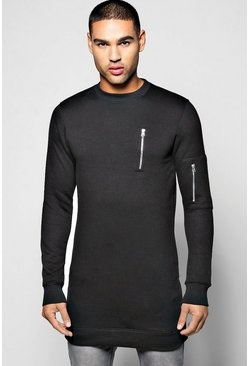 Longline MA1 Crew Neck Sweatshirt With Side Zips