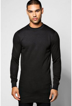 Longline Sweatshirt With Side Zips