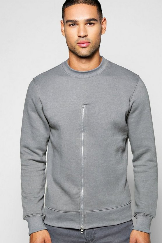 Crew Neck Sweatshirt With Front Zip