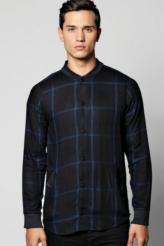 Bomber Collar Check Shirt