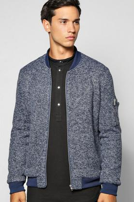 Smart Flecked MA1 Bomber With Sleeve Zip