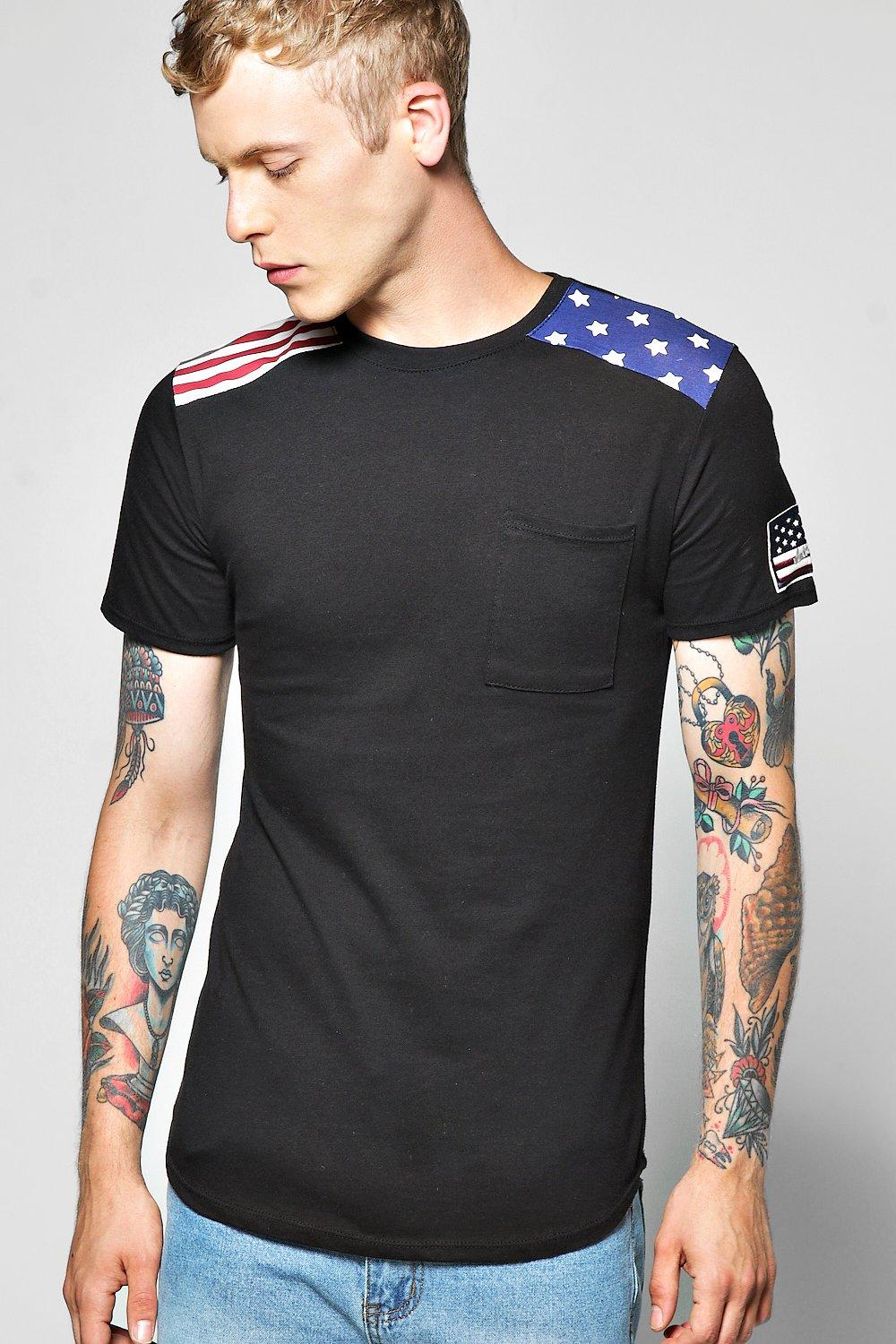Stripes And Stars Panel T Shirt