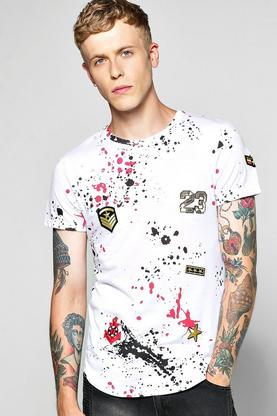 Skater Length Splatter Badge T Shirt