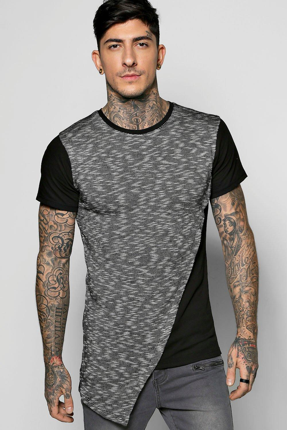 Longline Asymetric Space Panel T Shirt