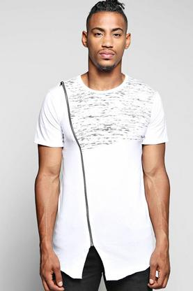 Longline Asymmetric Panel T Shirt With Zip