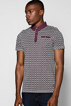 All Over Geo Print Polo
