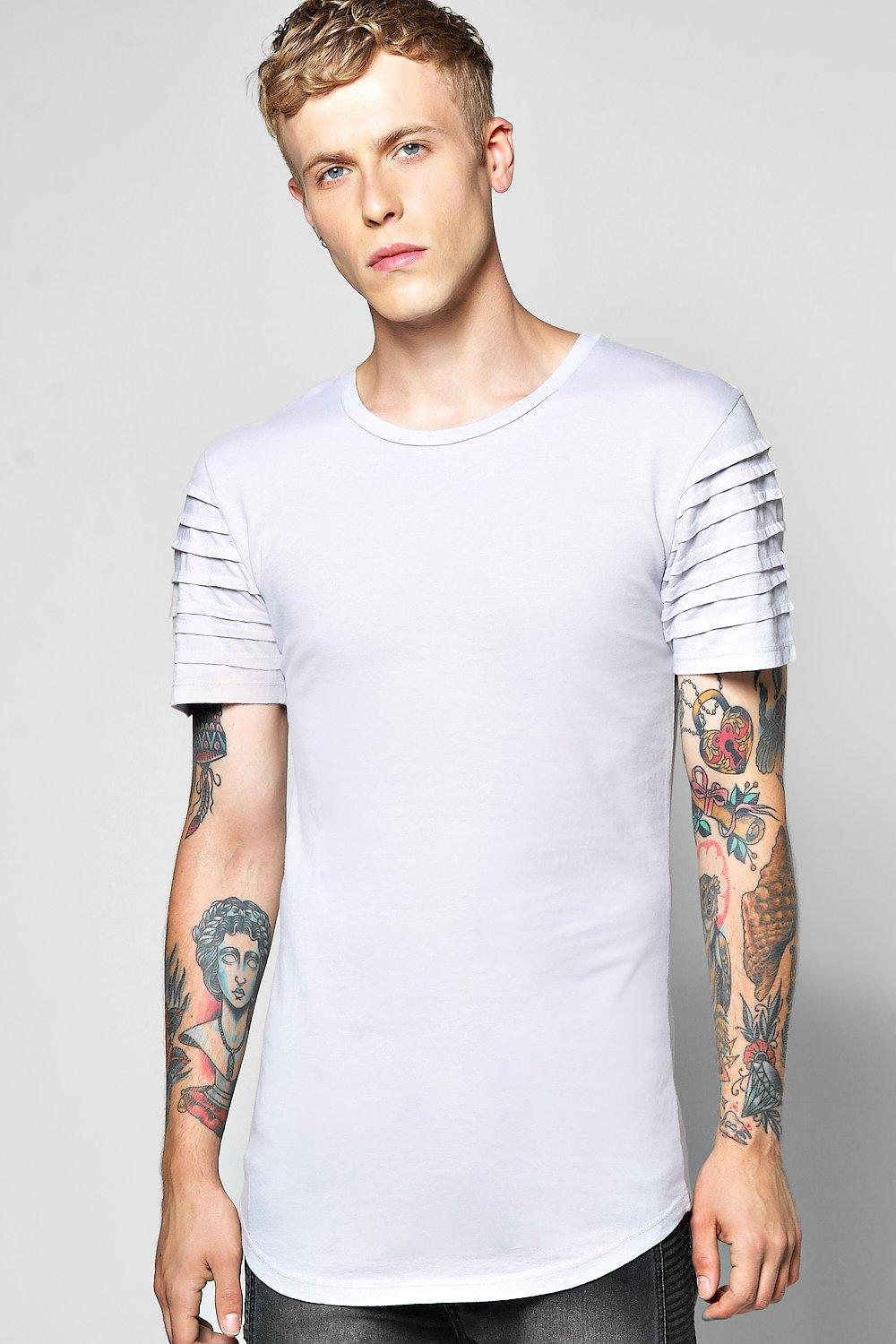 Biker Panel T Shirt With Scoop Hem