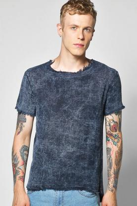 Raw Edge Marble Wash Textured Scoop Hem T Shirt