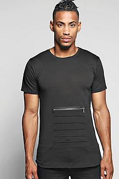 Longline Pocket T Shirt With Scoop Hem