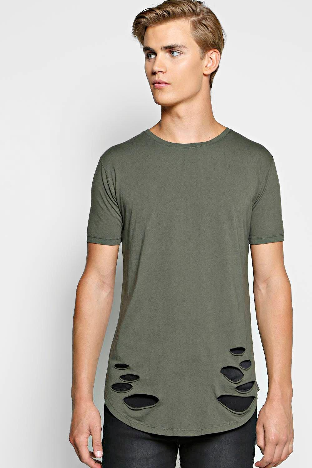 Longline Curved Hem Distressed T Shirt