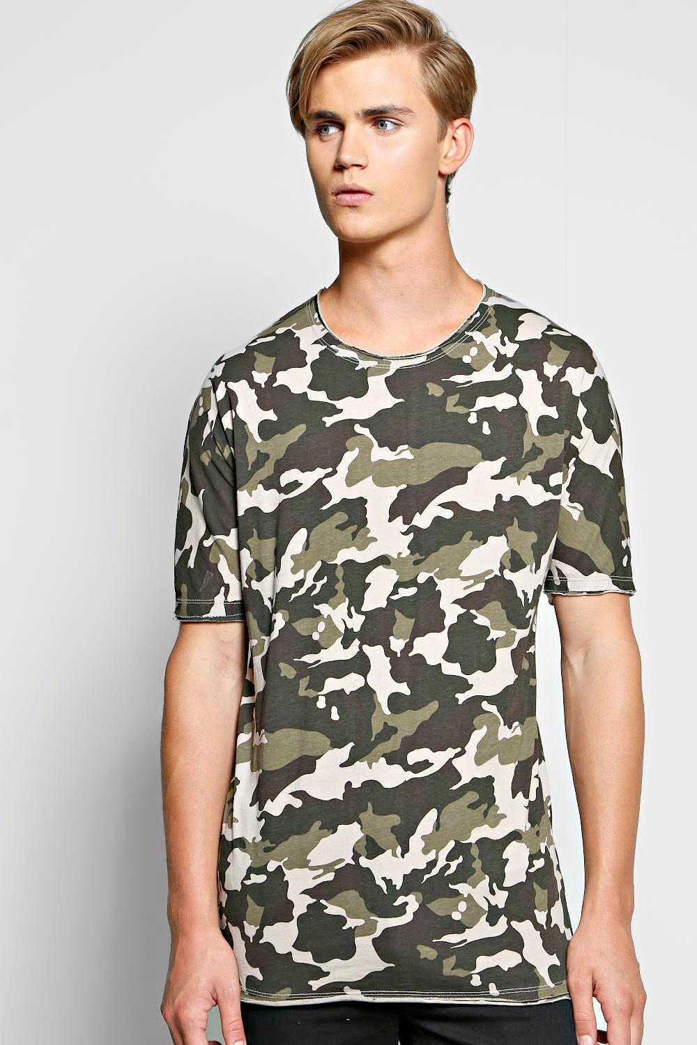Oversized Longline Camo T Shirt With Raw Edge