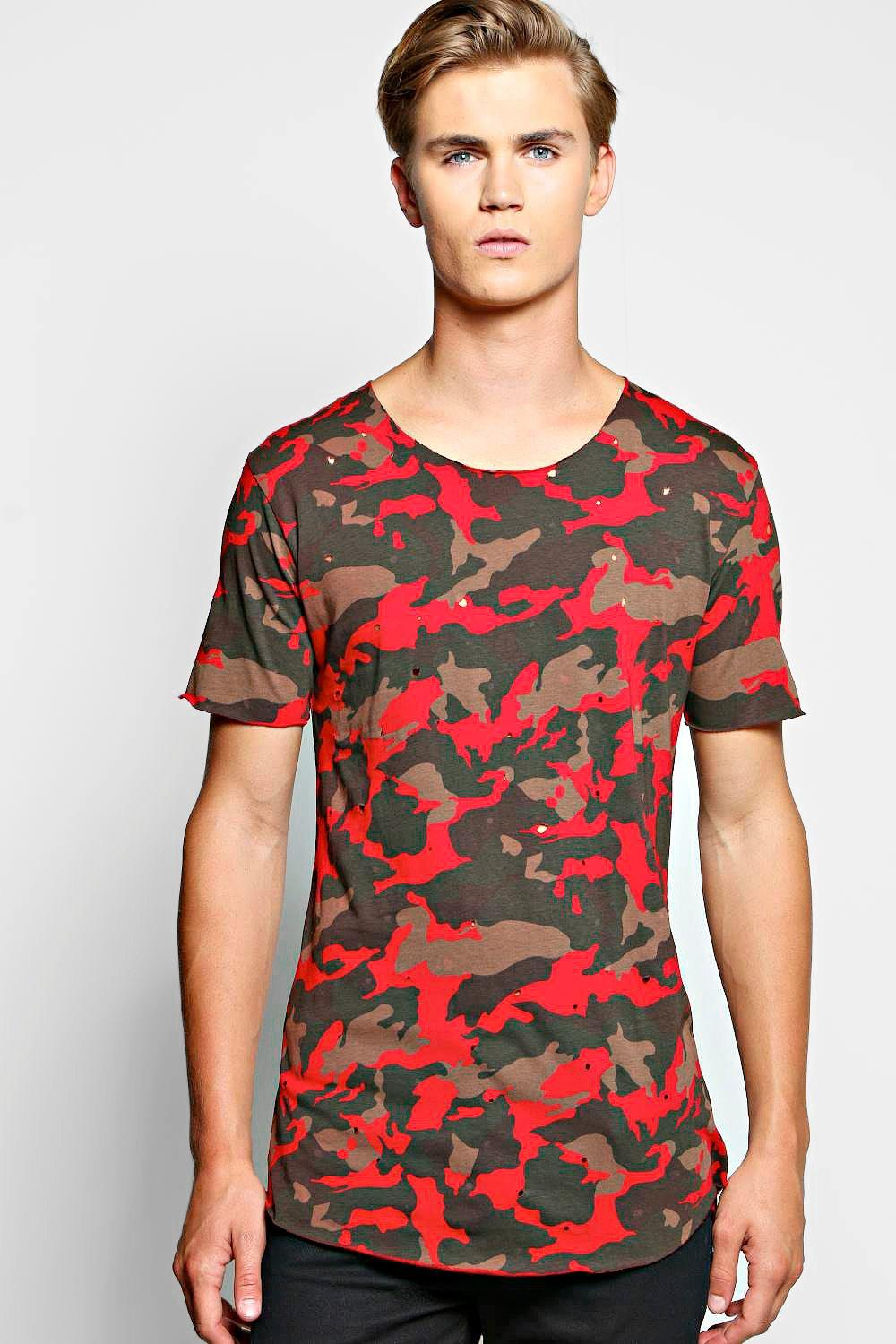 Skater Camo T Shirt With Distressing