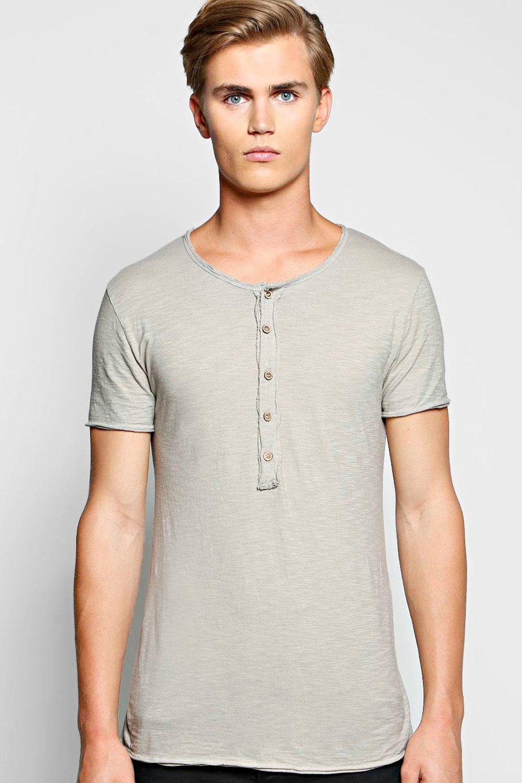Boohoo mens long sleeve grandad neck t shirt in slub knit for What is a slub shirt