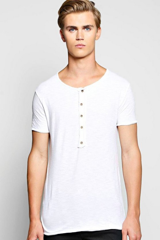 Long Sleeve Grandad Neck T Shirt In Slub Knit