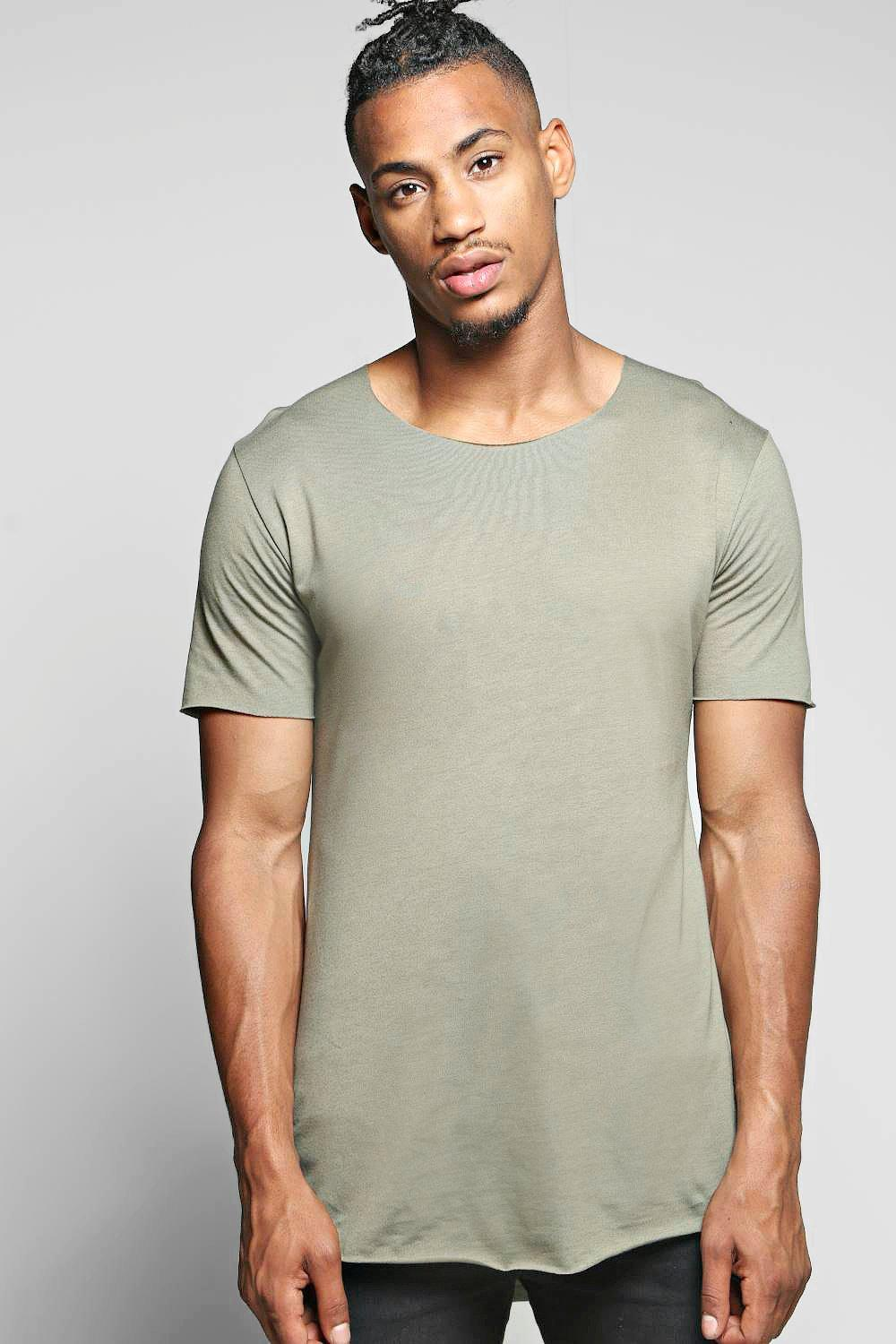 Lux Raw Edge Longline Scoop Hem T Shirt