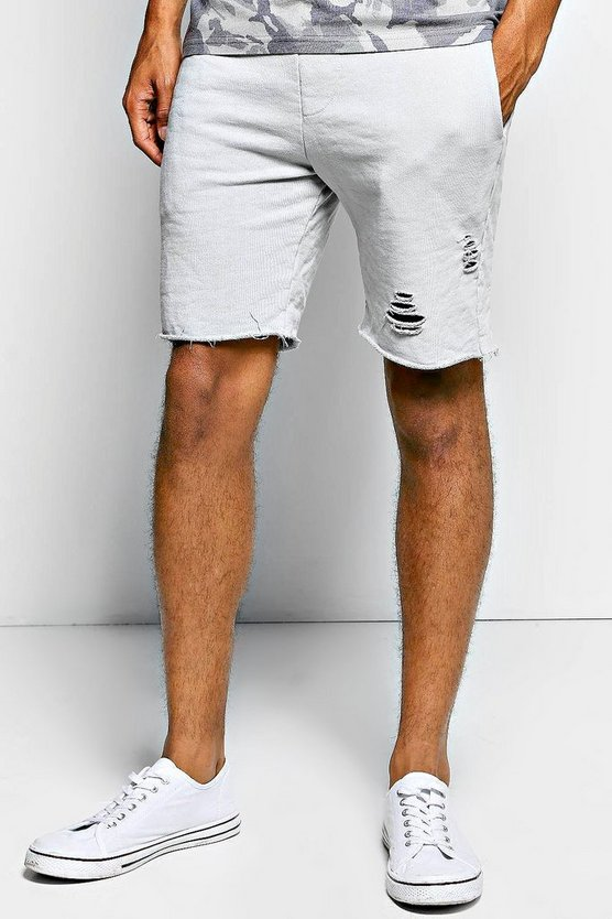 Distressed Raw Edge Jersey Shorts
