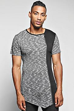 Longline Raw Edge Space Panel T Shirt