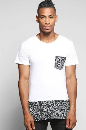 Longline Pocket And Panel Print T Shirt With Zips