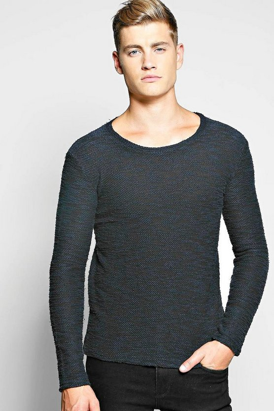 Reverse Loopback Sweatshirt In Mixed Yarn