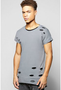 2Pk Distressed Sweat With Plain Scoop Hem Tee