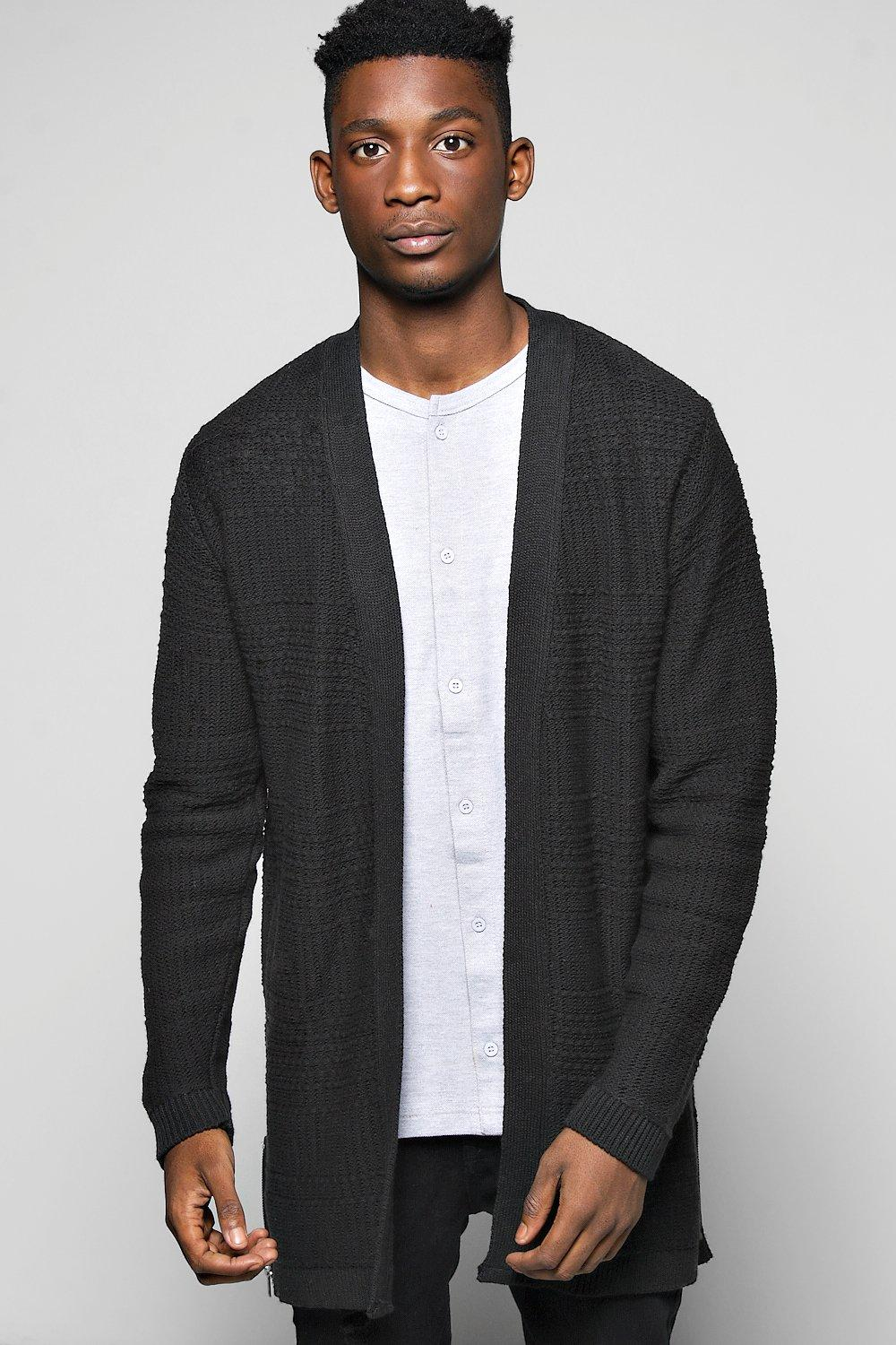 Longline Textured Open Cardi With Side Zips